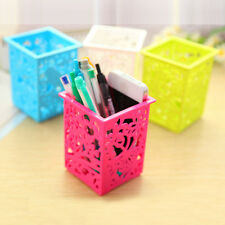 1x Hollow Plastic Stationery Pen Holder Case Organizer Makeup Storage Box Basket