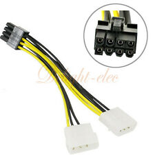 Dual Molex LP4 4 pin to 8 pin PCI-E Express Converter Adapter Power Cable DE