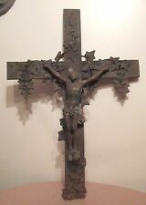 huge antique rare solid heavy cast iron religious Jesus Christ crucifix cross