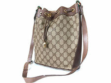 Authentic GUCCI GG Pattern PVC Canvas, Leather Browns Drawstring Shoulder Bag