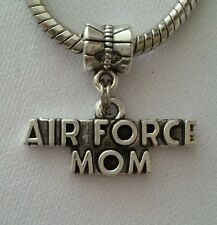 Air Force Mom USA Military Dangle Bead Silver for European Style Charm Bracelet