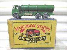Lesney Matchbox 1955 GREEN RW11A1 Road Tanker Crimped Axles MWhls Excellent Boxd