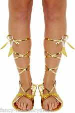 Ladies Gold Roman Greek Gladiator Tie Fancy Dress Costume Outfit Sandals Shoes