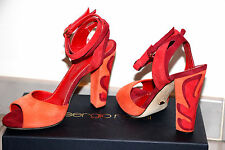 SERGIO ROSSI coral / red leaf appliquéd heel suede pumps sz US 6 / IT 36  $790