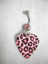 NEW PINK LEOPARD SAFARI PRINT GUITAR PICK w PASTEL PINK CZ BELLY BAR NAVEL RING