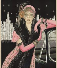 Counted Cross Stitch ART DECO LADY in Pink Dress w/Car COMPLETE KIT No.1-43