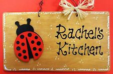 PERSONALIZED Stained Sign LADYBUG KITCHEN Name Wall Plaque Country Wood Decor