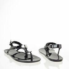 Women's Michael Kors Plate Jelly Shoes Black Thong Slingback Sandals Size 6 M