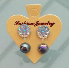 2 pares Redondo Brillante Claro AB y Plateado Gris Cristal Diamante Aretes