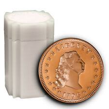 Tube of 20 Flowing Hair 1 AVDP Oz .999 Pure Copper Rounds In Mint Tube