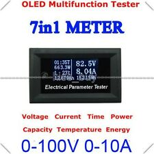 OLED Tester Digital Volt amp Power meter Time Capacity energy TEMP 12v 24v