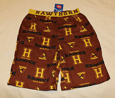 Hawthorn Hawks AFL Boys Brown Printed Cotton Boxer Sleep Shorts Size 14 New