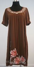 JW Johnny Was Los Angeles Embroidered Floral Dress Tunic Short Sleeve Brown SzM