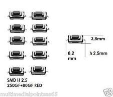 SET 10 PZ MICROPULSANTE SMD PER RADIOCOMANDI AUTO FIAT SMART OPEL 8,2x2,5x3,8mm