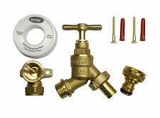 All Brass Outside Tap Kit | Garden Hose Fitting, 15mm Wall Plate, Screws, PTFE