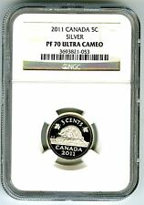 2011 CANADA SILVER PROOF 5 CENT NGC PF70 UCAM NICKEL SUPER RARE ONLY 5 KNOWN