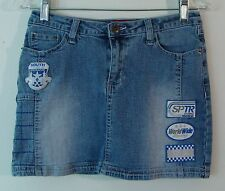 SOUTH POLE Mini Stretch Jean Skirt World Wide Racing Patches Low Waist Size 3