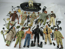"Large Lot of 11 GI Joe 12"" Inch Figures w/ Guns Boat Clothes Dog Tags 1996 Rare"