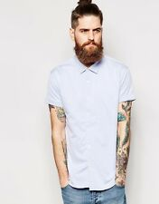 Scotch & Soda Shirt with Herringbone Pattern Short Sleeves Blue-S-Chest 36-38 in