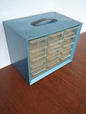 VINTAGE METAL SMALL PARTS TOOLS STORAGE BOX BIN CABINET CASE CRAFTS 15 DRAWERS