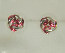 EARRINGS: SMALL ROUND CUT (4MM) RED TOURMALINE LOVELY DESIGN WHITE GOLD FILLED