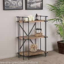Rustic 3-Shelf Industrial Design Brown Solid Wood Bookcase