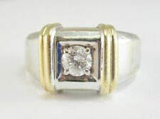 VERY NICE MEN'S 14K TWO-TONE GOLD SOLITAIRE DIAMOND RING 8.8G 0.38CT
