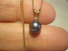 VINTAGE 14K GOLD CHAIN & AAA QUALITY GENUINE TAHITIAN PEARL & DIAMOND PENDANT
