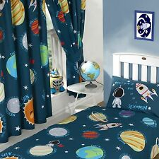 "SOLAR SYSTEM SPACEMAN 66"" x 54"" LINED CURTAINS WITH TIE BACKS"
