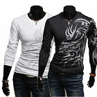Men's Dragon Tattoo Printed Long Sleeve Slim Fit T-Shirts Casual Tee Tops Blouse