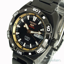 MEN'S SEIKO 5 SPORTS ION METAL AUTO BLACK AND GOLD FACE SRP287J1