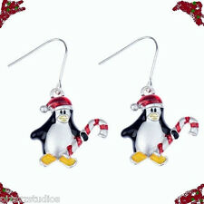 Penguin in Santa Hat Candy Cane Christmas Holiday Pierced Drop Dangle Earrings