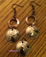 2012 LUCKY PENNY EARRING PENDANT SET W/ SOLID COPPER RINGS 5th ANNIVERSARY GIFT