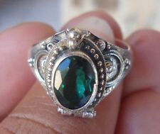 925 Solid Silver Balinese Poison Locket Ring Green Quartz Size 6-H67