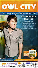 "OWL CITY ""ALL THINGS BRIGHT & BEAUTIFUL TOUR"" MANILA, PHILIPPINES CONCERT POSTER"