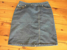 LADIES BLUE DENIM POLYCOTTON STRAIGHT PENCIL SKIRT BY TOILLE - SIZE 10 - CHEAP