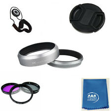 JJC LH-JX70 Silver Metal Lens Hood For Fujifilm X70 Fuji LH-X70 + Filter kit +++