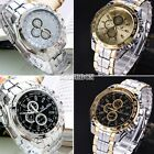 Unisex Men's Wrist Watch Quartz Analog Stainless Steel Watches Silver Gold EA