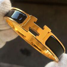 Hermès CLIC-CLAC H-Bracciale Bangle LOVE BLU BLEU BLACK GOLD-GM 6.7 pollici