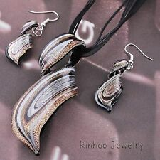 Hot Brown Styles Murano Lampwork Glass Pendant Necklace Earrings Set Xmas Gifts