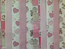 24 JELLY ROLL STRIPS 100% COTTON PATCHWORK FABRIC TEDDIES PINK 22 INCH LONG