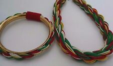 Vtg African Seed Braid Multilayer Braided Choker Necklace Bangle Bracelet Red