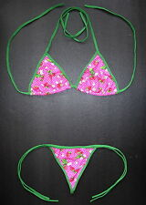 Ladies Sexy G-STRING BIKINI, Pink, Red & Green Swimming Costume, Thong,Underwear