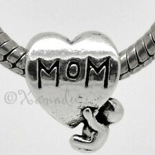 Mom Heart European Charm Bead With Hanging Baby For Charm Bracelets Necklaces