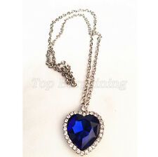 Crystal Stunning Titanic the heart of ocean blue diamond necklace Rare Gift