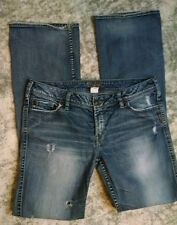 Womens Silver Twisted Factory Distressed Whiskered Denim Jeans Bootcut SZ 30/35