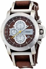 Fossil Mens JR1157 Chronograph Brown Leather Strap Watch 45 mm