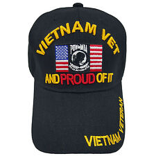 US MILITARY Vietnam Vet And Proud Of It Black Hat Cap