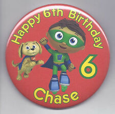 Super Why Personalized Birthday Button Big 3 inch size