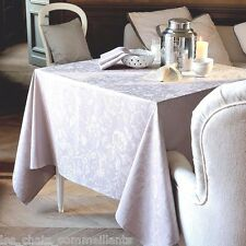 """GARNIER THIEBAUT, MILLE CHARMES, NACRE, FRENCH WOVEN TABLECLOTH, 71"""" x 71"""", NEW"""